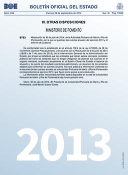 Cuentas anuales 2013 e informe de auditoría